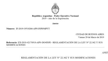 REGLAMENTO DE LA LEY DE MARCAS - DECRETO 242/2019 - REGLAMENTACIÓN DE LA LEY Nº 22.362 Y SUS MODIFICACIONES